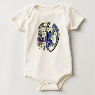 Body Para Bebé Monograma pintado a mano de la inicial del