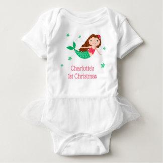 Body Para Bebé Navidad lindo de la sirena 1r blanco