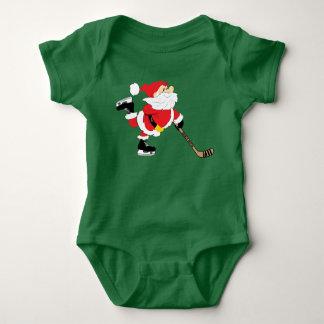 Body Para Bebé Navidad patinador de Santa del hockey