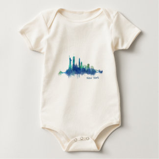 Body Para Bebé New York Skyline Watercolor blue v05