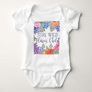 Body Para Bebé Niño de flor salvaje de la estancia - Boho floral