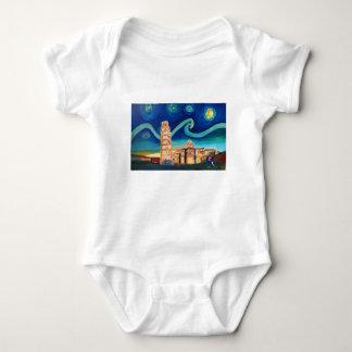 Body Para Bebé Noche estrellada en Pisa con la torre inclinada