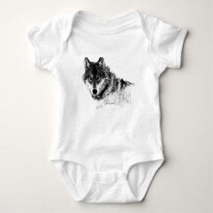 Body Para Bebé Ojos inspirados blancos negros del lobo