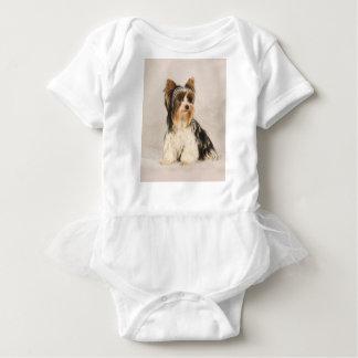 Body Para Bebé Pintura de Srta. Mia Photo de Yorkie del retrato
