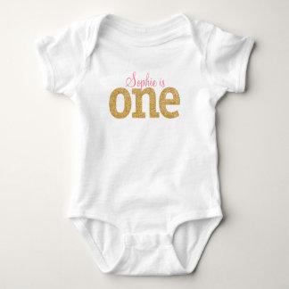 Body Para Bebé Primer equipo del purpurina del oro del