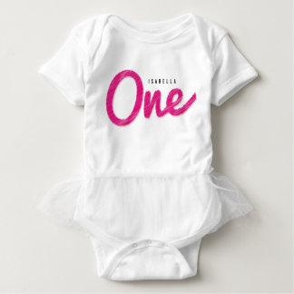 Body Para Bebé Primera fiesta de cumpleaños de la niña rosada