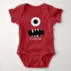Body Para Bebé Rojo personalizado tonto del bebé de la cara linda