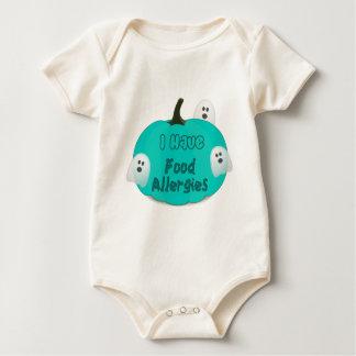 Body Para Bebé Ropa verde azulada de Halloween de la calabaza de
