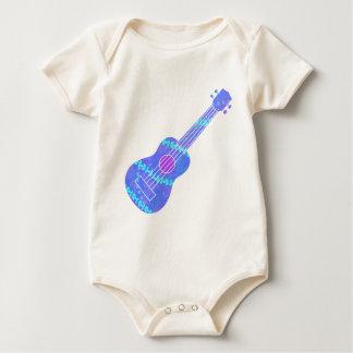 Body Para Bebé Salpicón azul de la pintura del Ukulele