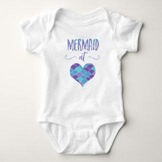 Body Para Bebé Sirena linda en el mono del bebé del corazón