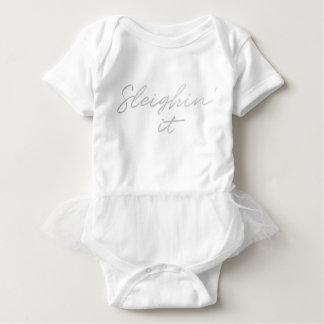 Body Para Bebé Sleighin él falso tutú del bebé del navidad del