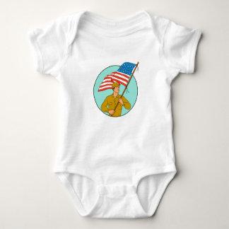 Body Para Bebé Soldado americano que agita el dibujo del círculo