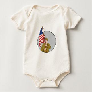 Body Para Bebé Soldado americano que sostiene el dibujo del
