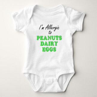 Body Para Bebé Soy alérgico a los CACAHUETES y LECHERÍA y los