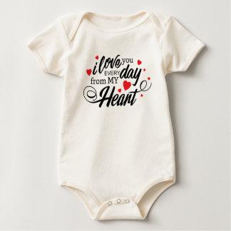 Body Para Bebé Te amo mono diario simple de la tarjeta del día de