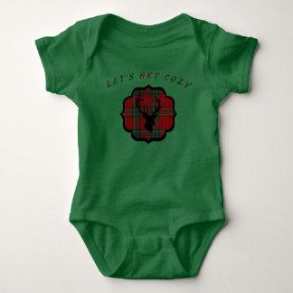 Body Para Bebé Tela escocesa del rojo del navidad