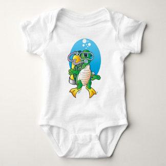 Body Para Bebé Tortuga del equipo de submarinismo del dibujo