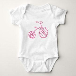 Body Para Bebé Triciclo femenino lindo del rosa del vintage