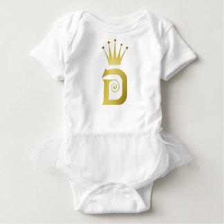 Body Para Bebé Tutú inicial del bebé de la corona del monograma