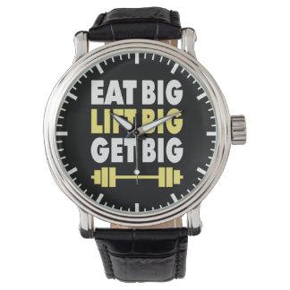 Bodybuilding - coma grande, levantan grande, reloj de pulsera