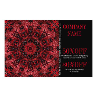 bohemio floral rojo del boutique de la moda del folleto 14 x 21,6 cm