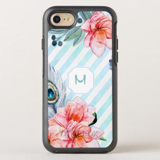 Boho empluma la raya de la acuarela floral funda OtterBox symmetry para iPhone 7