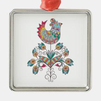 Boho-moda, polluelo étnico, popular en la flor adorno navideño cuadrado de metal