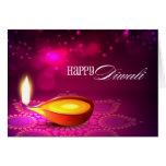 Bokeh enciende la lámpara de Diwali Tarjeta De Felicitación