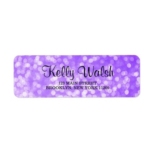 Bokeh púrpura enciende etiquetas del remite del etiqueta de remitente