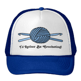 Bola azul de los ganchos del hilado y de ganchillo gorros bordados