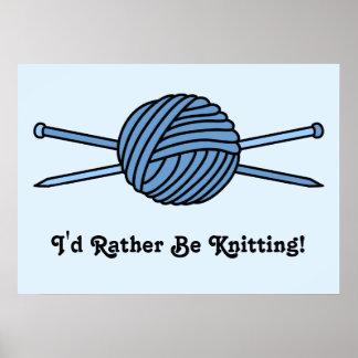 Bola azul del hilado y de las agujas que hacen pun poster