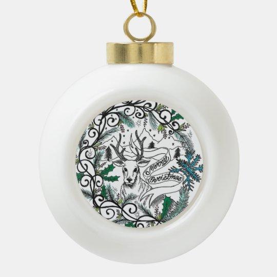 Bola de cerámica de Raindeer del navidad por Adorno De Cerámica En Forma De Bola