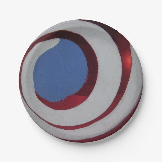Bola de cristal azul blanca roja patriótica del plato de papel