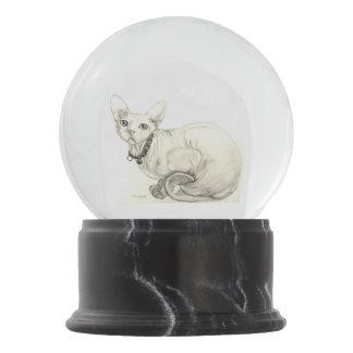 Bola De Cristal Con Nieve Gato de Sphynx por el villancico Zeock.