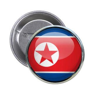 Bola de cristal de la bandera de Corea del Norte Chapa Redonda 5 Cm