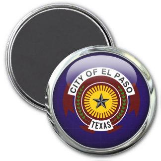 Bola de cristal de la bandera de El Paso Imán Redondo 7 Cm
