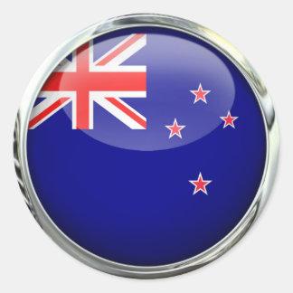 Bola de cristal de la bandera de Nueva Zelanda Etiqueta Redonda