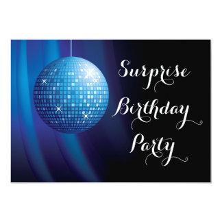 Bola de discoteca atractiva del azul del invitación 12,7 x 17,8 cm