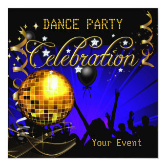 Bola de discoteca azul del baile del oro de la invitación 13,3 cm x 13,3cm