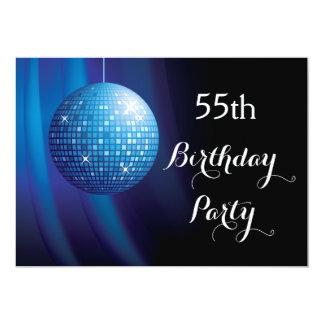 Bola de discoteca azul del fiesta del 55.o invitación 12,7 x 17,8 cm