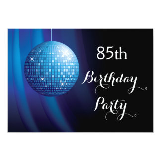 Bola de discoteca azul del fiesta del 85o invitación 12,7 x 17,8 cm