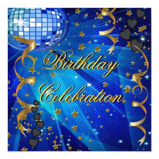 Bola de discoteca azul retra de la celebración de invitación 13,3 cm x 13,3cm