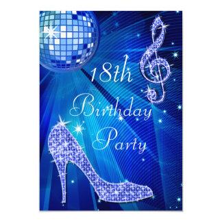 Bola de discoteca azul y cumpleaños de los talones invitación 12,7 x 17,8 cm