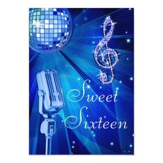 Bola de discoteca azul y dulce retro 16 del invitación 12,7 x 17,8 cm