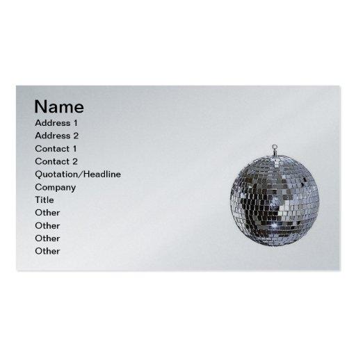 Bola de discoteca de plata tarjeta de visita