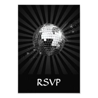 Bola de discoteca del espejo en negro invitación 8,9 x 12,7 cm
