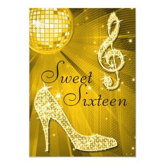 Bola de discoteca del oro y dulce 16 de los invitación 12,7 x 17,8 cm