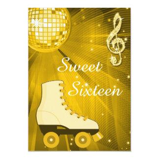 Bola de discoteca del oro y dulce dieciséis de los invitación 12,7 x 17,8 cm