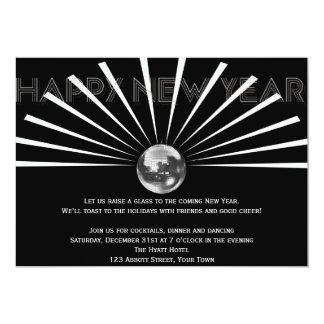 Bola de discoteca en Noche Vieja blancos y negros Invitación 12,7 X 17,8 Cm