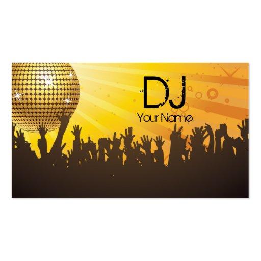 Bola de discoteca - negocio de DJ tarjeta-amarillo Plantillas De Tarjeta De Negocio